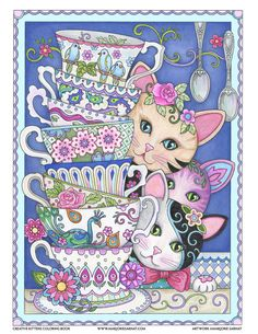 Stack of Teacups – Art and coloring ©Marjorie Sarnat