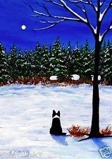 BORDER COLLIE Dog SHEEP SNOW Outsider Folk Art PRINT Todd Young FOREST EDGE