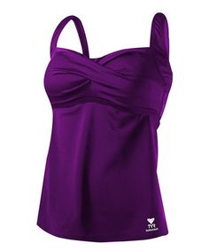 This Purple Twisted Bandeau Tankini Top is perfect! #zulilyfinds