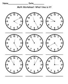 Math Worksheet: What time is it? - [member-created using abctools] Printable Math Worksheets, School Worksheets, Worksheets For Kids, Free Printable, Teaching Time, Teaching Activities, Teaching Math, Math Clock, Saxon Math