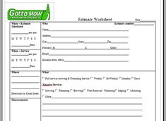 Great For Landscapers And Gardeners This Printable Lawn Care Form