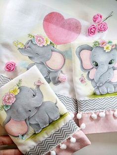 Cute Baby Elephant, Elephant Birthday, Baby Sheets, Baby Embroidery, Diy Pallet Projects, Baby Cards, Fabric Painting, Cute Babies, Safari