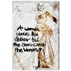 Oliver Gal 'The Shoes Carry The Woman' Canvas Wall Art ($108) ❤ liked on Polyvore featuring home, home decor, wall art, metallic silver, canvas home decor, canvas wall art, marilyn monroe home decor, marilyn monroe canvas wall art and marilyn monroe wall art