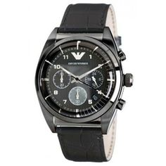 a8f2d757bd34 Emporio Armani Men s AR0393 Chronograph Black Leather Watch