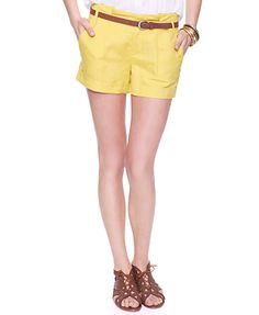 yellow linen shorts from forever 21 $19.80