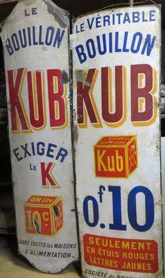 Pub. 2 grandes plaques émaillées Bouillon Kub. - Ader - 24/09/2014
