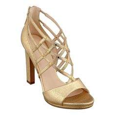 """NINE WEST>>>  A myriad of thin leather straps punctuated with metal studs form the ever-so delicate looking cage of these adorable gladiator inspired peep toe pumps. Back zip for easy/on off. Padded footbed for all-day comfort. Leather upper. Man-made lining and sole. Imported. 4 1/2"""" high heels. Women's caged peep toe pumps."""