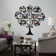 Diy Family Tree Photo Picture Frame Collage Set Black Wall Art Decoration Sticker Home Room Decor, Size: 48 inch x 41 inch Tree Collage, Frame Wall Collage, Wall Collage Decor, Collage Picture Frames, Frame Wall Decor, Frames On Wall, Collage Photo, Collage Art, Frames Decor