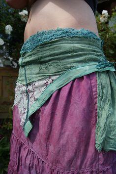 Beautiful hand dyed mini skirt wrap, gypsy festival, tribal chic, boho, hippie chic. $28.00, via Etsy.