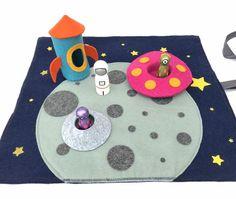Space Play Mat - Complete Set - Travel Play Mat - Roll Up Play Mat - Ready to ship Felt Play Mat, Play Mats, Mini Mundo, Felt Kids, Felt Crafts Patterns, Felt Tree, Handmade Wooden Toys, World Crafts, Felt Fabric
