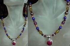 Multicolor Necklace c/w Ruby Faceted Round Stone by camexinc, $32.00
