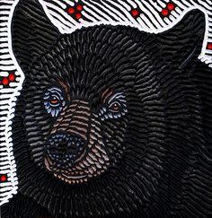 Bear by Lisa Brawn painted woodcut block on salvaged Douglas Fir x 2012 Adult Art Classes, Doodle Paint, Animal Symbolism, Power Animal, Bear Illustration, Stamp Printing, Animal Quilts, Bear Art, Animal Totems
