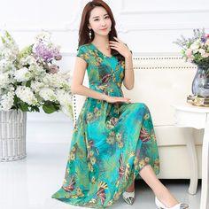새로운 슬림 바닥 쉬폰 인쇄 드레스 여성 V 넥 드레스 여름 휴가 해변 드레스를 청소하고 큰에 넣어 2,017면을 야옹