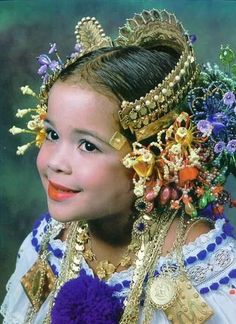 South America | Portrait of a girl wearing a beautiful headdress, part of the pollera, the national dress of Panama by traci