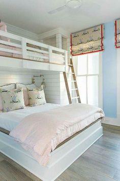 Do you like leaning ladder or vertical? Teenage Girl Bedrooms, Teenage Room, Girls Bedroom, Shared Bedrooms, Blue Girls Rooms, Girl Rooms, Coastal Bedrooms, Coastal Living Rooms, Coastal Bedding