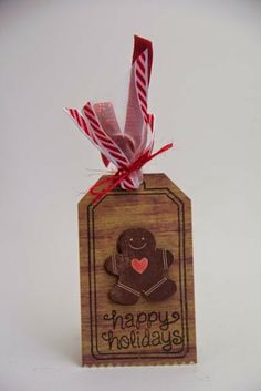 Happy Holidays gingerbread tag using PTI stamps and die, Lawn Fawn stamps and May Arts ribbon