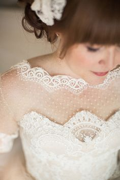 beautiful polka dot tulle and lave wedding dress   www.onefabday.com