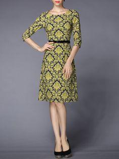 Yellow Sheath Floral Half Sleeve Polyester Midi Dress