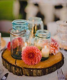 rustikale Tischdeko Marmeladenglas Blumen Windlichter Sommer Flair