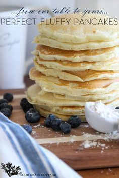 Perfect Fluffy Pancakes by The Wood Grain Cottage. They're a breakfast must-have. Yummy farmhouse style pancakes recipe. They'd even be perfect for breakfast for dinner nights.