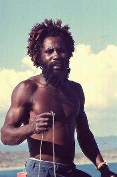 Rastafarian admirer of Ronald Reagan at the nude beach, 1986.