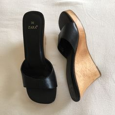 """Zara Sandals Super chic Zara Sandals! Worn a few times and soles are perfect! 4"""" heels.  A few scuffs in the wood (shown in picture 4.) Zara Shoes Sandals"""