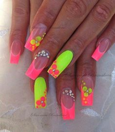 neon pink and yellow nails