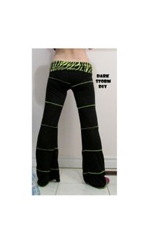 CUSTOM Yoga Pants DIY Pixie Neon Green Zebra & by DarkStormDIY,