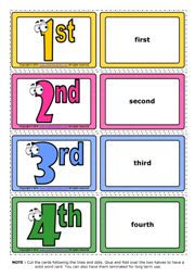 Ordinal Numbers ESL Printable Vocabulary Game Cards