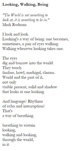 Looking, Walking, Being - Denise Levertov