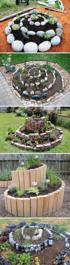 Spiral Raised Garden Bed. Love the idea of using old wine bottles as the walls.