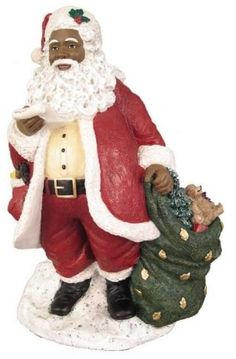 African American Christmas Santa With List Figurine #EbonyTreasures