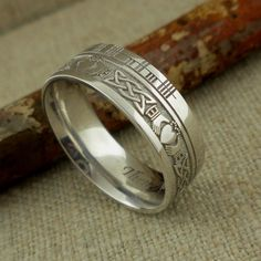 Celtic Claddagh Wedding Ring mm with Custom Ogham Rail Edge — Unique Celtic Wedding Rings Hunting Wedding Rings, Irish Wedding Rings, Mens Celtic Wedding Bands, Celtic Knot Designs, Diamond Cluster Engagement Ring, Claddagh, Rings For Men, Green Weddings, Romantic Weddings