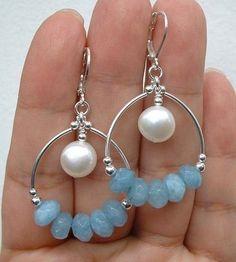 """Aquamarine + Freshwater Pearl Earrings - 1.7"""""""