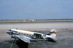 Douglas C-47A-35-DL (YV-C-ALA, c/n 9750) of LAV (Linea Aeropostal Venezolana) at Grano de Oro airport, Maracaibo Venezuela in April 1962. Far on the tarmac is a Convair 880M of Viasa.