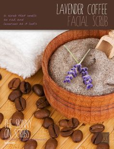 [ Spa Recipe: Lavender Coffee Facial Scrub ] Made with: sweet almond oil, granulated sugar, brown sugar, finely ground coffee, lavender flowers (dried, whole), and lavender essential oil. ~ from Monterey Bay Spice Co