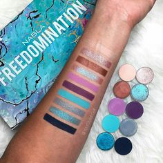 yourstylishself Some of the most beautiful eyeshadows I own. I mean look at them 😮 New Freedomination Collection 🦄 Top to bottom : 🐬 Millenium 🐬Mystic 🐬On The Road 🐬Alchemy 🐬Lotus 🐬Eresia 🐬New Heaven 🐬Freestyler 🐬Virgin Island 🐬Blue Velvet Best High End Makeup, High End Makeup Brands, Makeup Geek, Makeup Addict, Beauty Makeup, Face Makeup, Nabla Cosmetics, Makeup Cosmetics, Makeup Aisle
