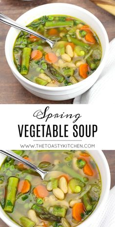 Spring Vegetable Soup - The Toasty Kitchen - Recipes - Soups and Stews - Mealton Best Vegetable Soup Recipe, Low Carb Vegetable Soup, Roasted Vegetable Soup, Homemade Vegetable Soups, Vegetable Soup With Chicken, Vegetable Recipes, Vegetable Broth Soup, Vegetable Entrees, Vegetable Salad
