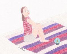 dessin d'une femme assise qui essaie de méditer en regardant une boule à neige // drawing of a sitting woman who tries to meditate while looking at a snow globe    illustration : ApollineR