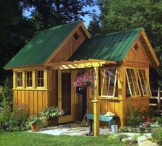 Cottage Potting Shed with Porch | How cute is this little potting shed!