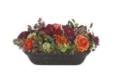 Rose, Lilac, Amaryllis, Berry (OF350): Rose Lilac, Orange Burgundy, Wood Trough, 22wx14dx12h
