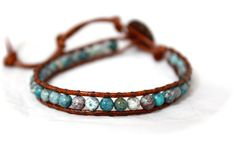 LOVE these colors! Bonsai Garden Chrysotine Single Leather Wrap by CraeVita, $33.00
