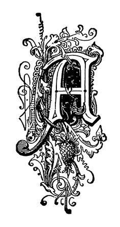 Free Black and White Illustration: Decorative Letter A from Vintage Book