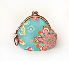 Turquoise Coin Purse with Multicolored Flowers, Pink Kisslock, $20.00