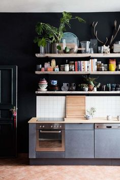 styled shelves with black background
