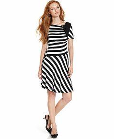 ECI Ruched Striped A-Line Dress