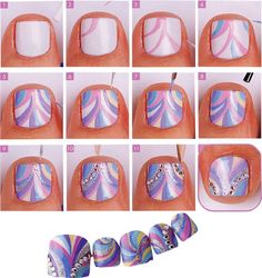 Toe nail art, maybe stop after step four? So Nails, Pedicure Nails, Fancy Nails, Cute Nails, Pretty Nails, Hair And Nails, Toe Nail Art, Nail Art Diy, Nails Decoradas