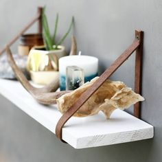 The White Fawn Shelf  Maple Wood Hanging Shelves  Leather