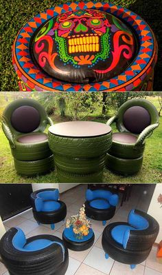 with old tires.Creativity with old tires. Outstanding diy flowers information are readily available on our internet site. Have a look and you wont be sorry you did. diyflowers Apple Helios Day Bed - modern - day beds and c. Tire Seats, Tire Chairs, Patio Chairs, Tire Furniture, Diy Garden Furniture, Recycled Furniture, Outdoor Furniture, Furniture Ideas, Handmade Furniture