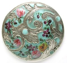 Antique Silver French Enamel Button Hand Painted Flowers on Turquoise